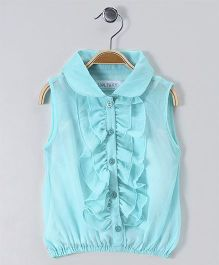 Soul Fairy Ruffled Sleeveless Collared Blouse - Light Blue