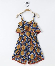 Soul Fairy Overlap Printed Strap Jumpsuit - Yellow