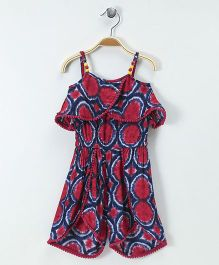 Soul Fairy Overlap Printed Strap Jumpsuit - Red