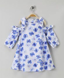 Soul Fairy Cold Shoulder Floral Print Dress - Blue