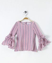 Soul Fairy Stripe Print & Beaded Bell Sleeves Top - Pink