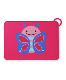 Skip Hop Zoo Fold & Go Silicone Placemat Butterfly Print - Pink