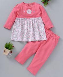 Babyhug Full Sleeves Frock Style Top & Leggings Floral Print - PInk