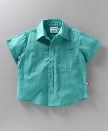 Nino Bambino Solid Half Sleeves Shirt - Blue
