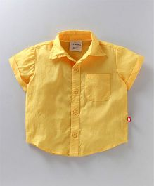 Nino Bambino Solid Half Sleeves Shirt - Yellow