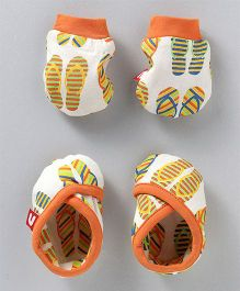 Nino Bambino Booties & Mittens - Orange
