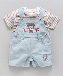 Olio Kids Corduroy Dungaree With T-Shirt Bear Patch - Light Blue