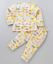Olio Kids Full Sleeves Night Suit Animals Print - Cream
