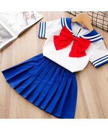 Pre Order - Awabox Sailor Collar Tee With Bow Tie & Pleated Skirt - Blue