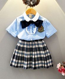 Pre Order - Awabox Shirt With Bow Tie & Check Skirt - Blue
