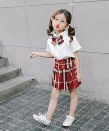 Pre Order - Awabox Shirt With Check Bow Tie & High Waist Skirt - White & Red
