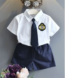 Pre Order - Awabox Shirt With Tie & Shorts - White &  Navy