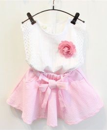 Pre Order - Awabox Sleeveless Top With Flower & Flare Skirt - Pink & White