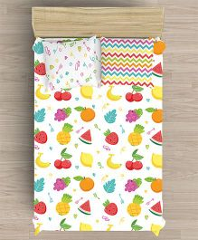Little Jamun Single Bedsheet With One Pillow Cover Fruit Print - White