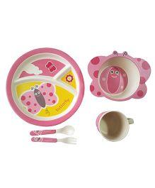 Little Jamun Dinner Set With Spoon & Fork Butterfly Shape Set of 5 - Pink