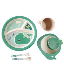 Little Jamun Dinner Set With Spoon & Fork Fish Shape Set of 5 - Green