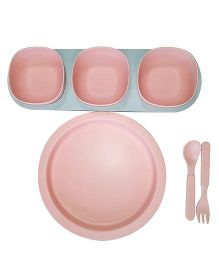 Little Jamun Dinner Set With Bowls & Cutlery - Peach
