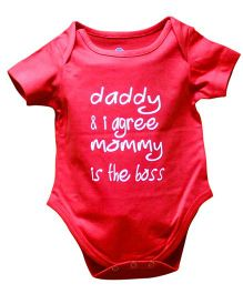Blue Bus Store Mommy Is Boss Print Onesie - Red