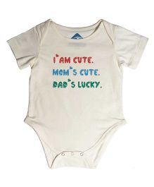 Blue Bus Store I Am Cute Print Onesie - White