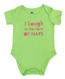 Blue Bus Store I Laugh Print Onesie - Green