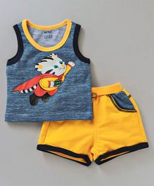 Wow Clothes Sleeveless Tee & Shorts Sets Tiger Print - Blue