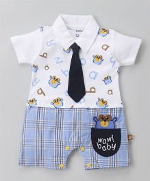 Wow Clothes Half Sleeves Romper With Tie - White Blue