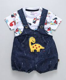 Wow Clothes Denim Dungaree With T-Shirt Dino Patch - Blue White