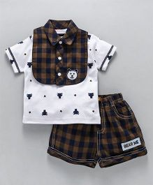 Wow Clothes Half Sleeves Tee & Shorts With Collared Bib Checks And Bear Print - White Khaki