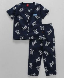 Wow Clothes Half Sleeves Night Suit Scooter Print - Navy Blue