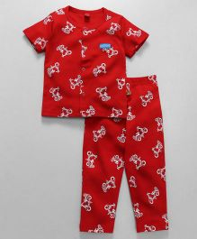 Wow Clothes Half Sleeves Night Suit Scooter Print - Red