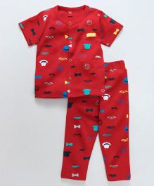 Wow Clothes Half Sleeves Night Suit Multiprint - Red