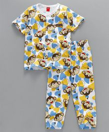 Wow Clothes Half Sleeves Night Suit Monkey Print - Blue  & Multicolor