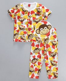 Wow Clothes Half Sleeves Night Suit Monkey Print - Yellow & Multicolor