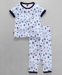 Wow Clothes Half Sleeves Night Suit Alphabets Print - Navy