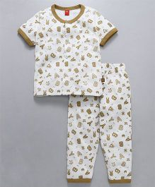 Wow Clothes Half Sleeves Night Suit Alphabets Print - Beige