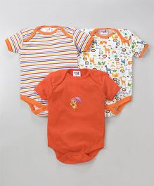 Kidi Wav Printed Onesie Set Of 3 - Orange