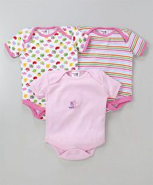 Kidi Wav Printed Onesie Set Of 3 - Pink