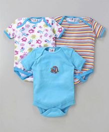 Kidi Wav Car Print Pack Of 3 Onesies - Blue