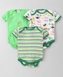 Kidi Wav Printed Onesie Set Of 3 - Green