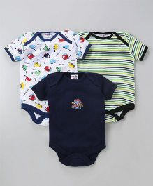 Kidiwav Car Print Pack of 3 Onesies - Navy Blue
