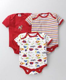 Kidi Wav Car Print Pack Of 3 Onesies - Red