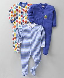 Kidi Wav Insect Print Pack Of 3 Bodysuits - Blue