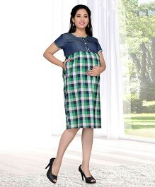 Mama & Bebe Plaid Maternity Dress - Green
