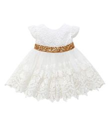 Pre Order - Awabox Big Back Bow Embroidered Frock - White