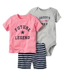 Pre Order - Awabox Printed Onesie & Tee With Striped Shorts - Pink & Grey