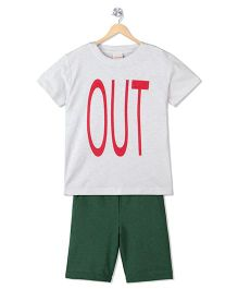 Raine And Jaine Out Print T-Shirt & Shorts Set - White & Green