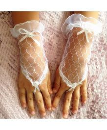 Tipy Tipy Tap Mesh Fingerless Gloves - White
