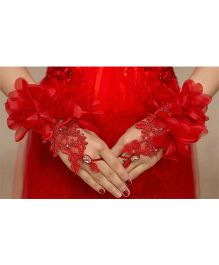 Tipy Tipy Tap Flower Lace Gloves - Red