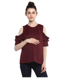 Momsoon Frill Detail Cold Shoulder Top - Brown