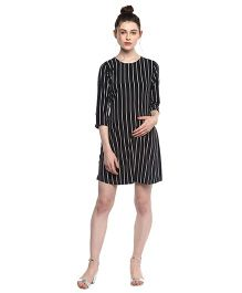 Momsoon Vertical Striped Dress - Black and White